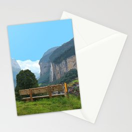 Switzerland alps, Swiss mountains and waterfall. Lauterbrunnen. Stationery Cards