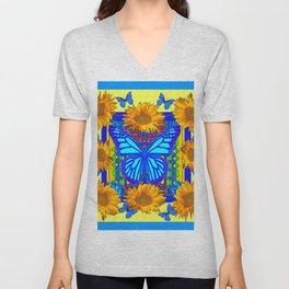 Yellow Gold Flowers Blue Butterflies Art Unisex V-Neck