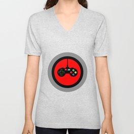Game Controller in Red Target Unisex V-Neck