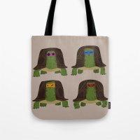 teenage mutant ninja turtles Tote Bags featuring teenage mutant ninja turtles by C.t. Chain