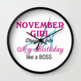 November Girl Birthday Wall Clock