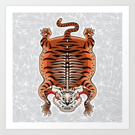 TIBETAN TIGER - SKELETON (white) Art Print