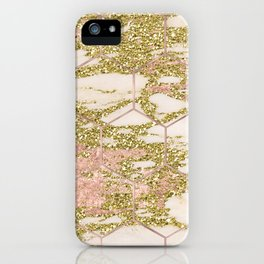 Dramatic rose gold and golden honeycomb iPhone Case