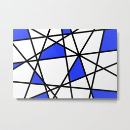 Geometric Modern triangles - white blue Metal Print