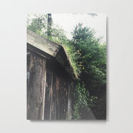 Overgrown Wild Flower Garden on a Shed Metal Print