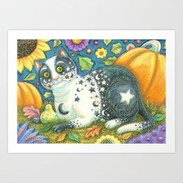 MILKY WAY - Brack Halloween Cat Art Print