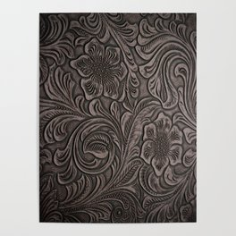 Distressed Smoky Tooled Leather Poster