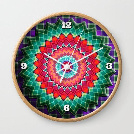 Plaid Flower Wall Clock