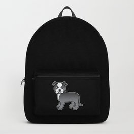 Blue And White English Staffordshire Bull Terrier Cartoon Dog Backpack