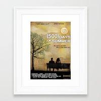 500 days of summer Framed Art Prints featuring 500 Days of Summer by Josh Goldman