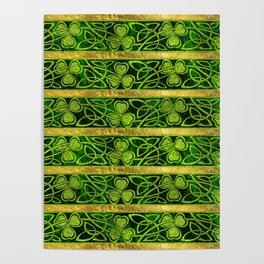 Irish Shamrock -Clover Gold and Green pattern Poster