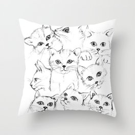 CATS SKETCHING Throw Pillow