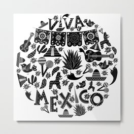Doodle viva Mexico Metal Print