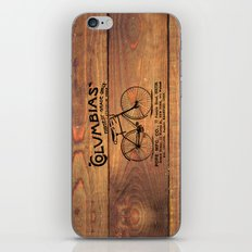 Black Brown Vintage American Bicycle on Wood Print iPhone & iPod Skin