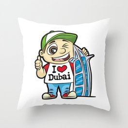 I LOVE DUBAI GUY BURJ AL ARAB HOTEL Vacation Throw Pillow