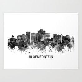 Bloemfontein South Africa Skyline BW Art Print