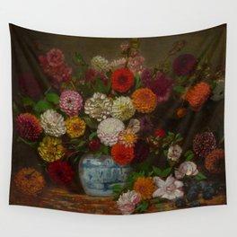 "Eugène Delacroix ""Still Life with Dahlias, Zinnias, Hollyhocks and Plums"" Wall Tapestry"