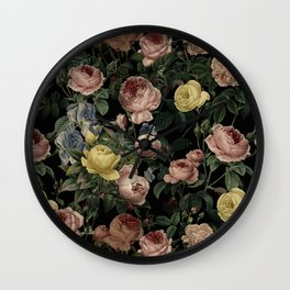 Vintage Roses and Iris Pattern - Dark Dreams on #Society6 Wall Clock
