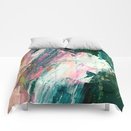 Meditate [2]: a vibrant, colorful abstract piece in bright green, teal, pink, orange, and white Comforters