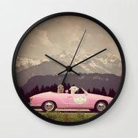 never stop exploring Wall Clocks featuring NEVER STOP EXPLORING VII by Monika Strigel