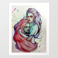 gemini Art Prints featuring Gemini by Olga Noes