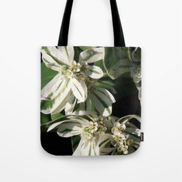 Green and White Flowers Tote Bag
