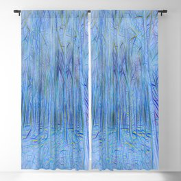 Blue Forest Abstract Art Blackout Curtain