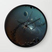 big bang Wall Clocks featuring Big Bang by SwanniePhotoArt
