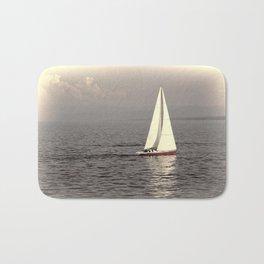 Sailing boat on the lake Bath Mat