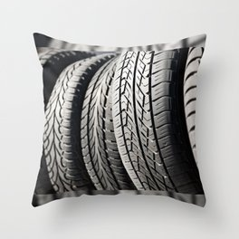 used black tires in row Throw Pillow