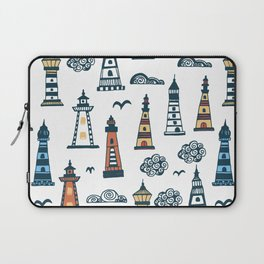 Cool Lighthouse Pattern with Birds and Clouds Laptop Sleeve