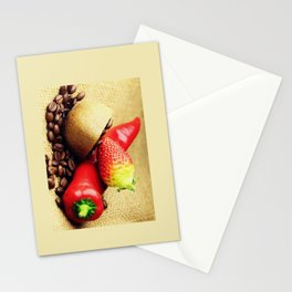 Coffee beans Kivi strawberry pepper Stationery Cards