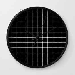 Grid Square Lines Black And White #12 Wall Clock