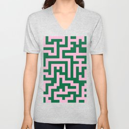 Cotton Candy Pink and Cadmium Green Labyrinth Unisex V-Neck