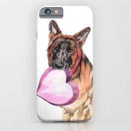 German Shepherd love , cute GSD dog watercolor with heart iPhone Case
