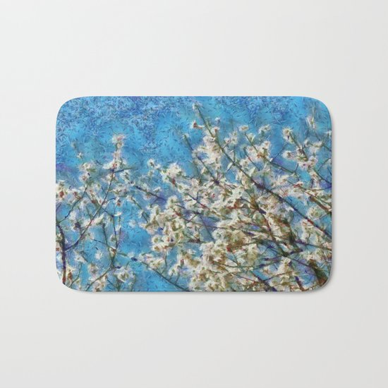Blossom and Blue Sky In Monet Style Bath Mat