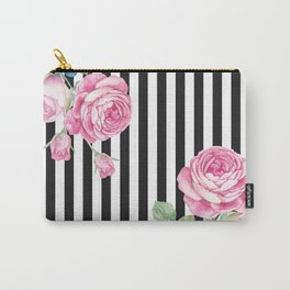 Black white blush pink watercolor floral stripes Carry-All Pouch