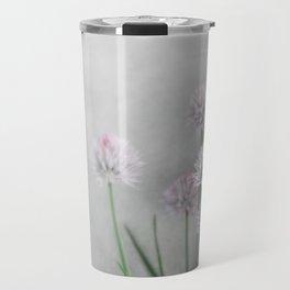 Lavender Flowers on Green Chives Travel Mug