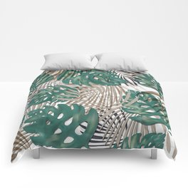 Tropical Leaves Nature Print Palm Fronds Comforters