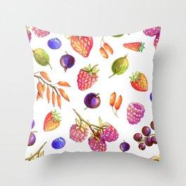 hand drawn oil berries Throw Pillow