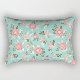 Flowers pastel mint painting watercolor abstract minimal gender neutral florals nursery baby kids Rectangular Pillow