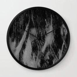 Gray black watercolor brushstrokes abstract pattern Wall Clock