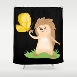 Hedgehog and Butterfly | Cute Animals Shower Curtain