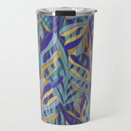 Tropical Leaves, blue and mustard pattern Travel Mug