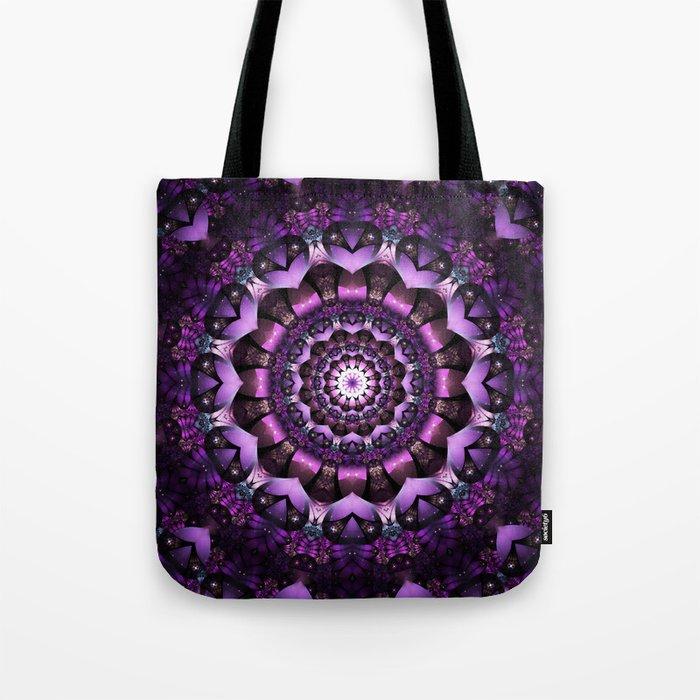 Purple Fairy Flower Mandala Tote Bag