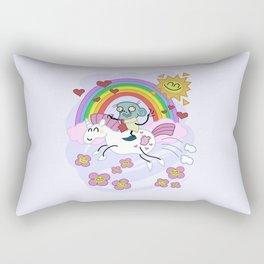 Unicorn Rainbow Ride to Love - Steve, the loving zombie Rectangular Pillow