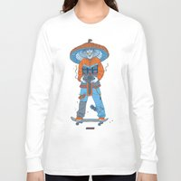 ski Long Sleeve T-shirts featuring Raijin-Ski by VNEWMAN65