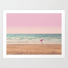 Surfer heads out Art Print