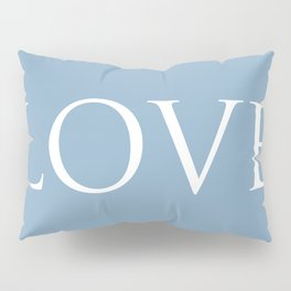 Love word on placid blue background Pillow Sham