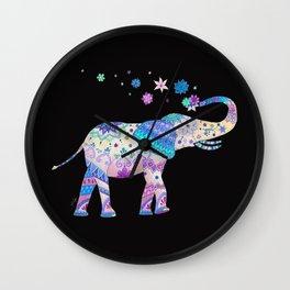 Henna Mandala Luck Elephant Wall Clock